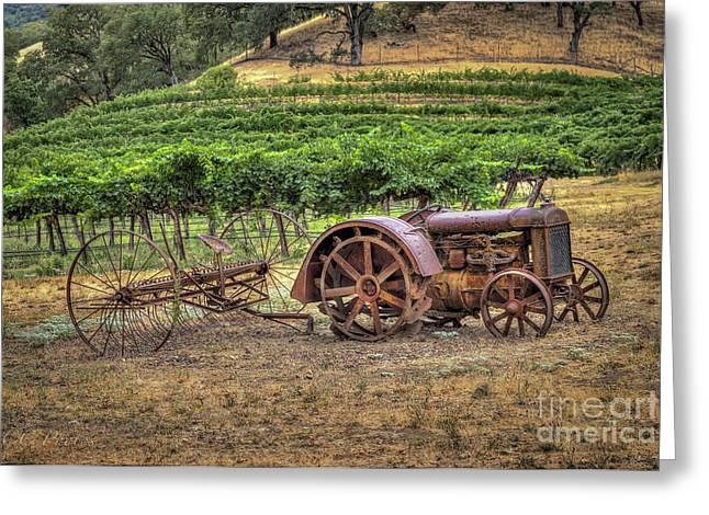 Tractor At The Vineyard Greeting Card
