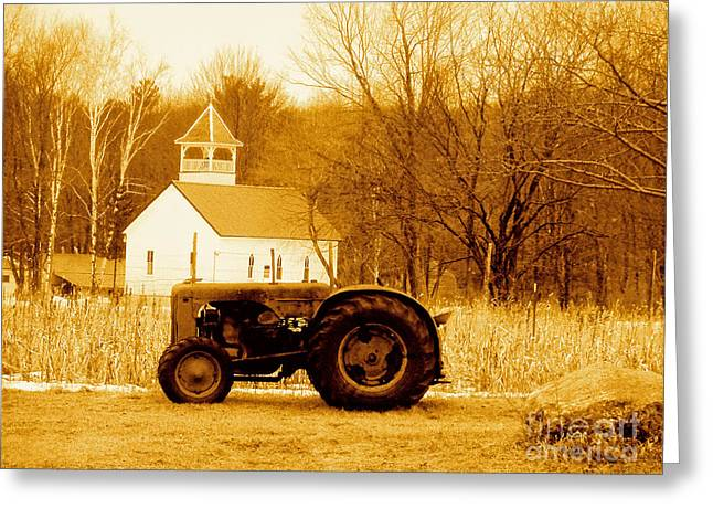 Tractor In The Field Greeting Card by Desiree Paquette