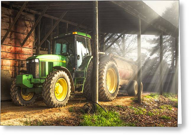Tractor In The Morning Greeting Card by Debra and Dave Vanderlaan