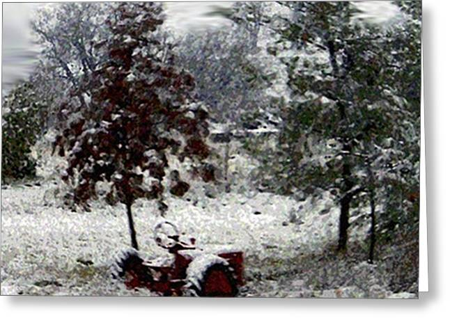 Tractor In The Snow Greeting Card by Dennis Buckman