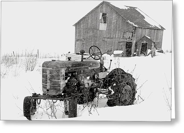Greeting Card featuring the photograph Tractor In Winter by Jim Vance
