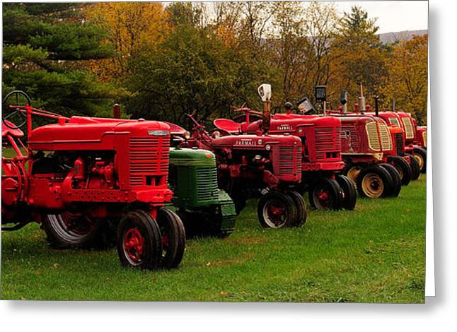 Tractor Lineup Greeting Card by Don Dennis