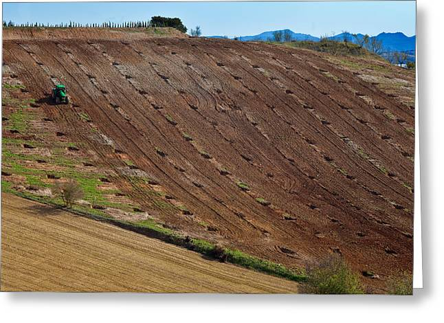 Tractor Preparing A Field, Near Alhama Greeting Card by Panoramic Images