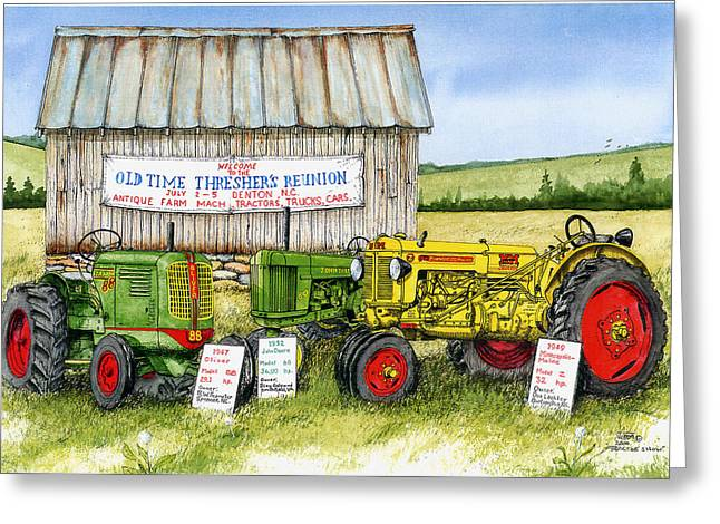 Tractor Show-old Time Threshers' Reunion Greeting Card by Larry Johnson