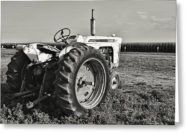 Tractor...black And White Greeting Card