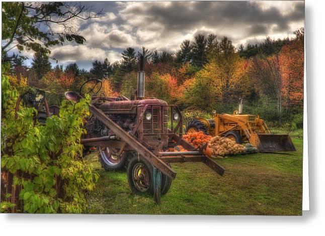 Tractors And Pumpkins Greeting Card by Joann Vitali