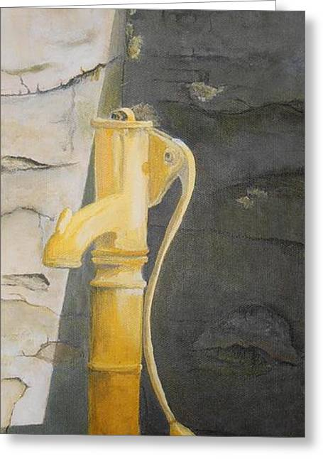 Tradional Irish Roadside Pump Greeting Card by Siobhan Lawson