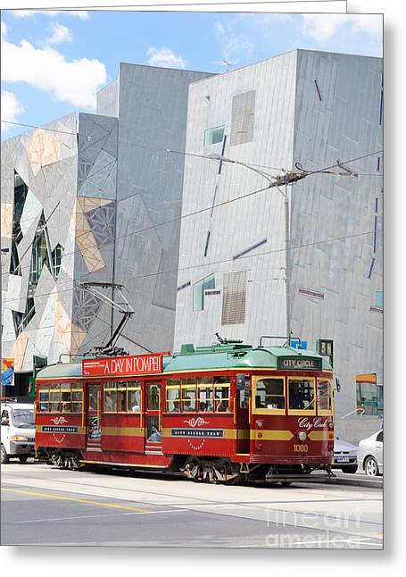 Traditional And Modern Symbols Of Melbourne - Tram And Architecture Greeting Card