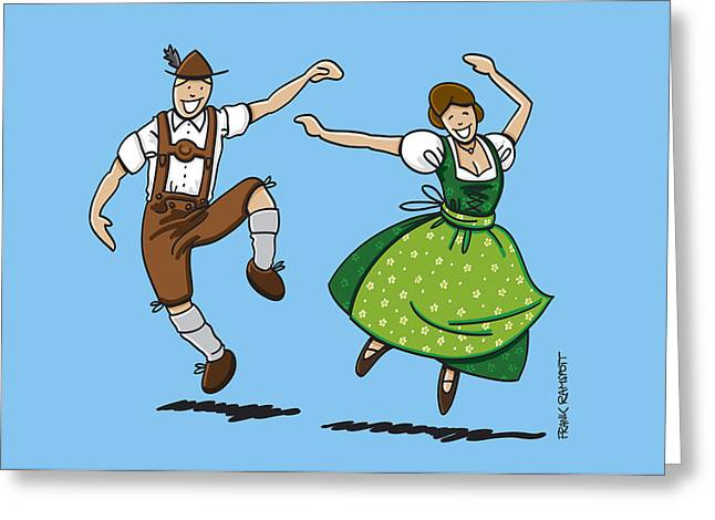 Traditional Bavarian Couple Dancing Greeting Card by Frank Ramspott