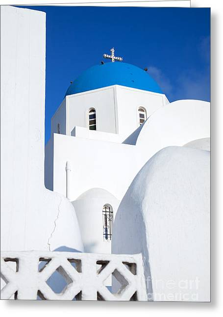 Traditional Church In Santorini - Greece Greeting Card by Matteo Colombo
