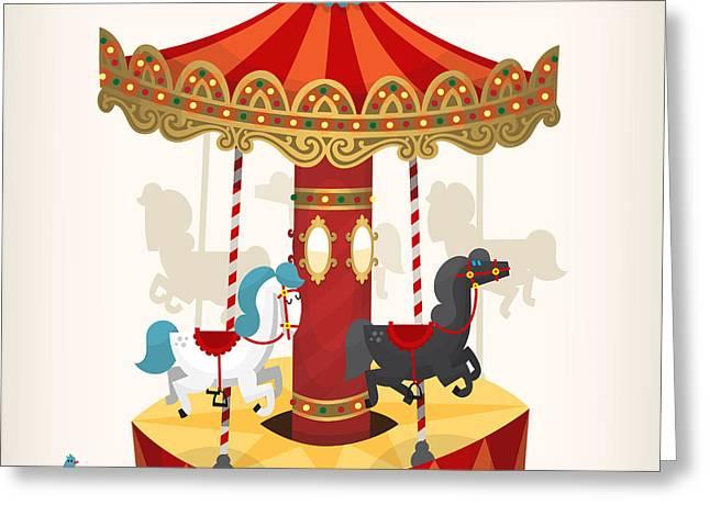 Traditional Funfair Amusement Horse Greeting Card
