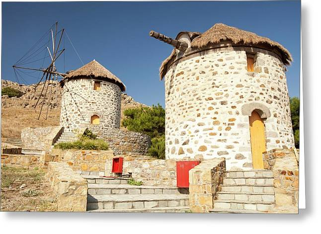 Traditional Greek Cloth Sailed Windmills Greeting Card