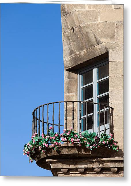 Traditional House Corner With Rounded Balcony  Greeting Card by Artur Bogacki