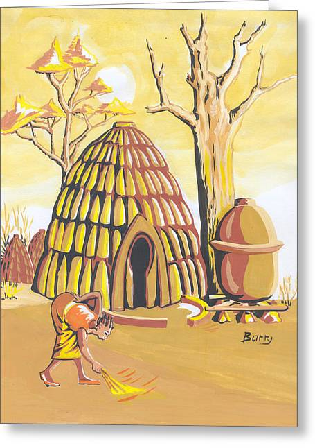 Greeting Card featuring the painting Traditional House Massa Northern Cameroon by Emmanuel Baliyanga
