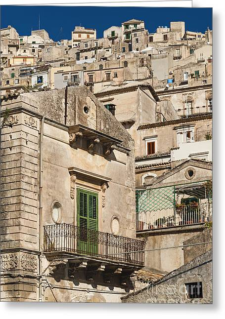 Traditional Houses Of Modica In Sicily Italy Greeting Card