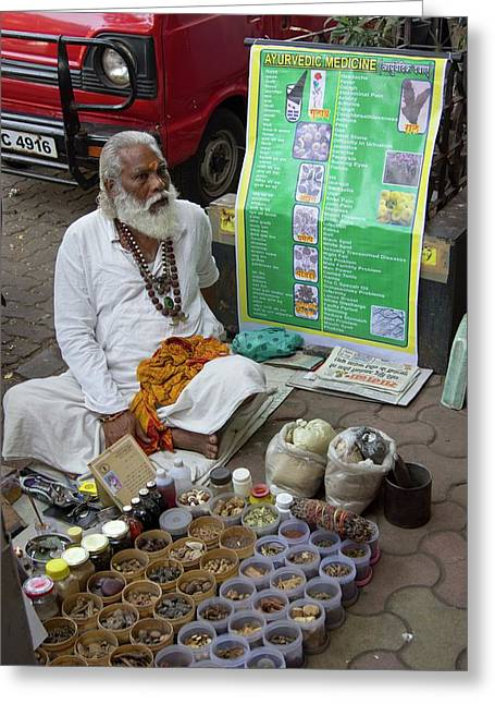 Traditional Indian Medicine Seller Greeting Card by Mark Williamson