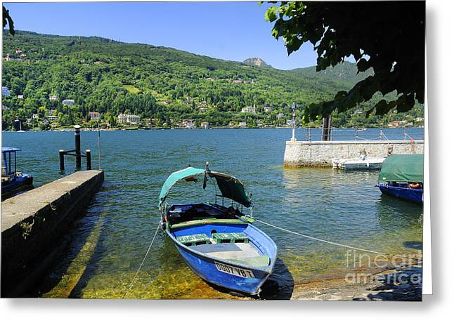 Traditional Lucia Fishing Boat On Lake Maggiore Greeting Card by Brenda Kean