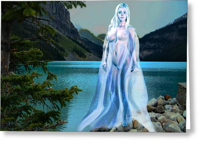 Traditional Modern Female Nude Lady Of The Lake Greeting Card
