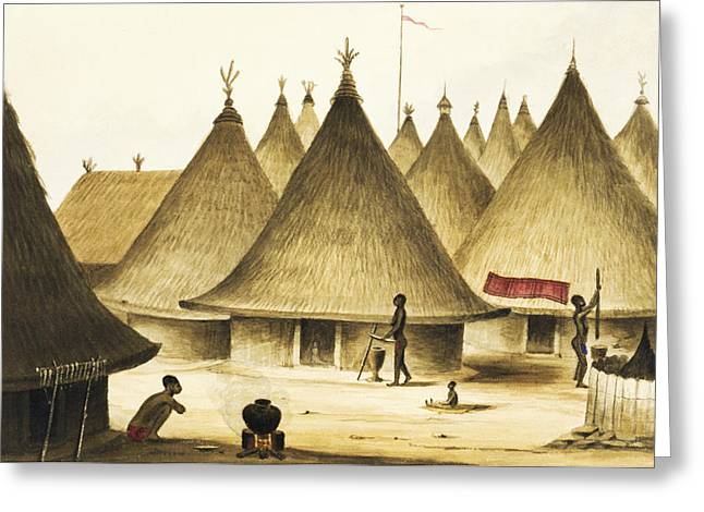 Traditional Native Village Circa 1840 Greeting Card