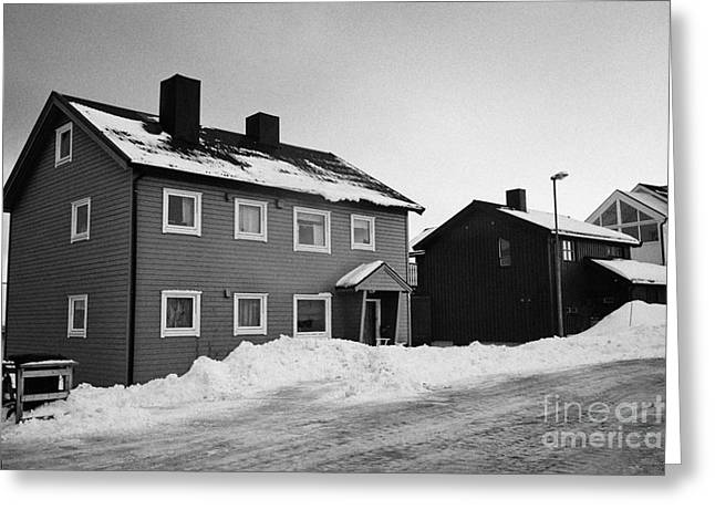 traditional red painted wooden house Honningsvag finnmark norway europe Greeting Card by Joe Fox