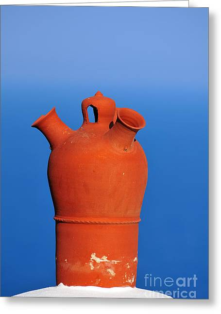 Traditional Roof Pottery In Sifnos Island Greeting Card