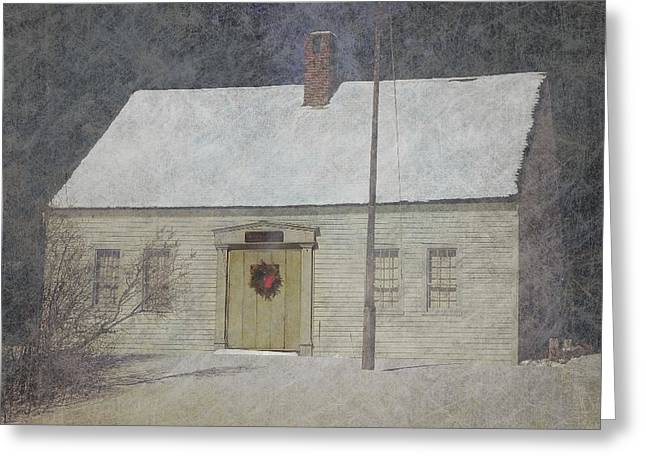 Traditional Snow Colonial Salt Box Home Christmas Card Greeting Card by Suzanne Powers