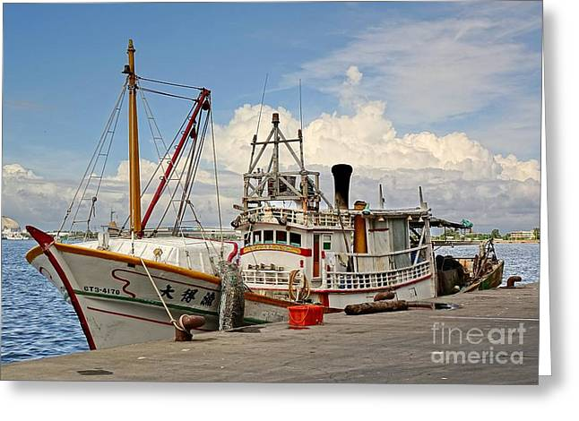 Traditional Taiwan Fishing Boat In Port Greeting Card