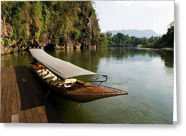 Traditional Thai Long Boat Docked Greeting Card