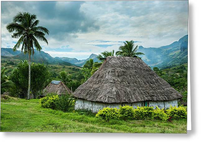 Traditional Thatched Roofed Huts Greeting Card by Michael Runkel