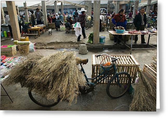 Traditional Town Market With Grass Greeting Card