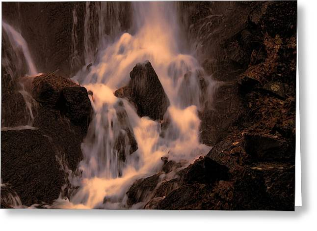 Traditional Waterfall At Sunset Greeting Card