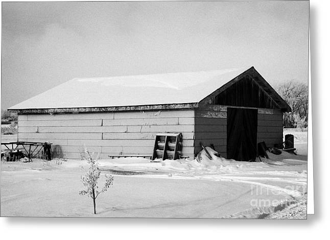 traditional wooden plank barn in rural village Forget Saskatchewan Canada Greeting Card by Joe Fox