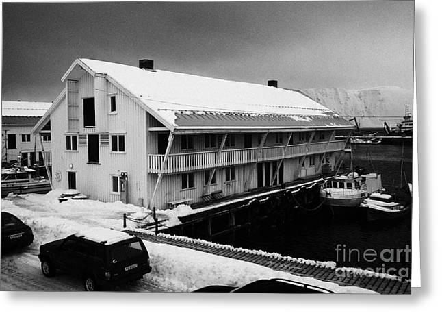 traditional wooden warehouse in Honningsvag harbour finnmark norway europe Greeting Card by Joe Fox