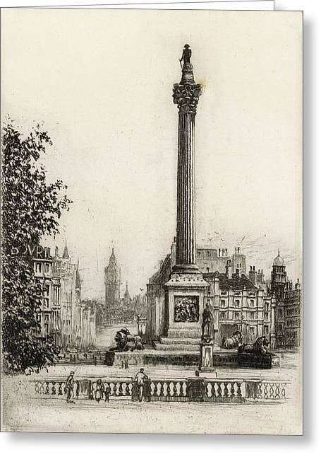Trafalgar Square, With Big Ben Greeting Card by Mary Evans Picture Library