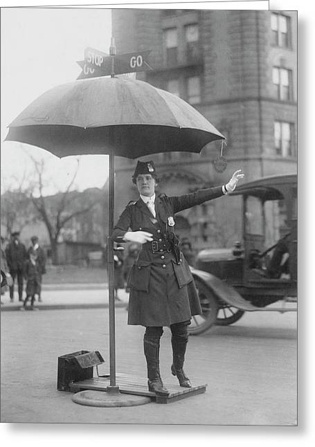 Traffic Cop In Washington D.c., Circa Greeting Card by Stocktrek Images