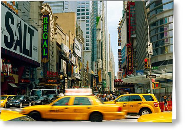 Traffic In A City, 42nd Street, Eighth Greeting Card by Panoramic Images
