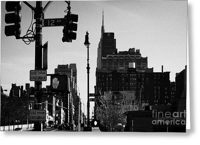Traffic Lights And Red Hand Stop Signal And Use Crosswalk Signs Intersection Manhattan New York City Greeting Card