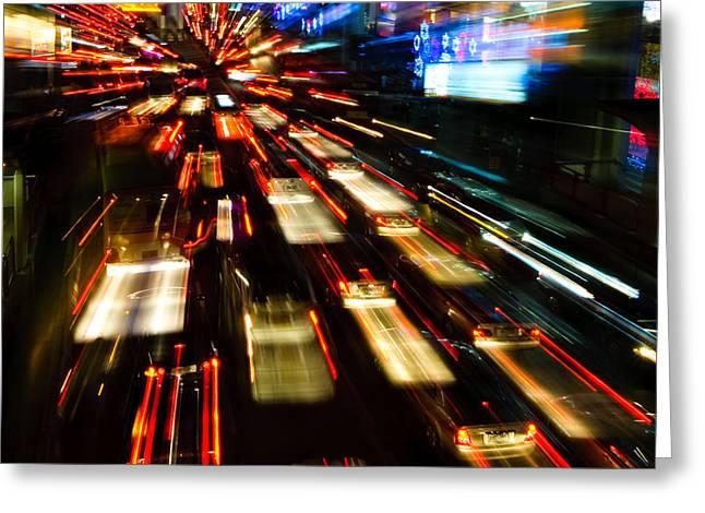 Traffic Lights In Motion Blur Greeting Card