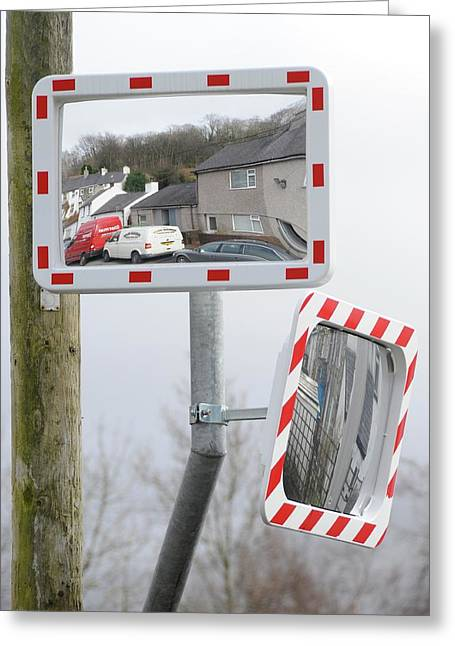 Traffic Mirrors Greeting Card by Cordelia Molloy