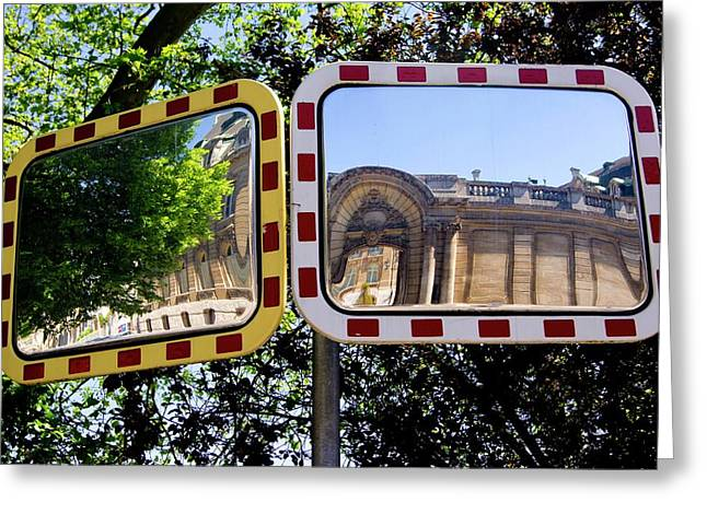 Traffic Mirrors In Luxembourg Greeting Card