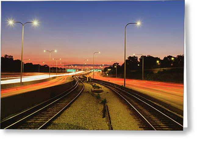 Traffic Moving In The City, Mass Greeting Card by Panoramic Images