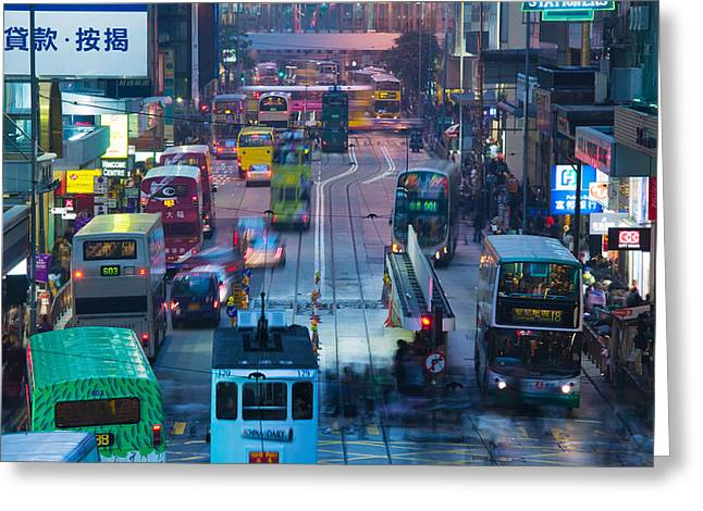 Traffic On A Street At Night, Des Voeux Greeting Card by Panoramic Images