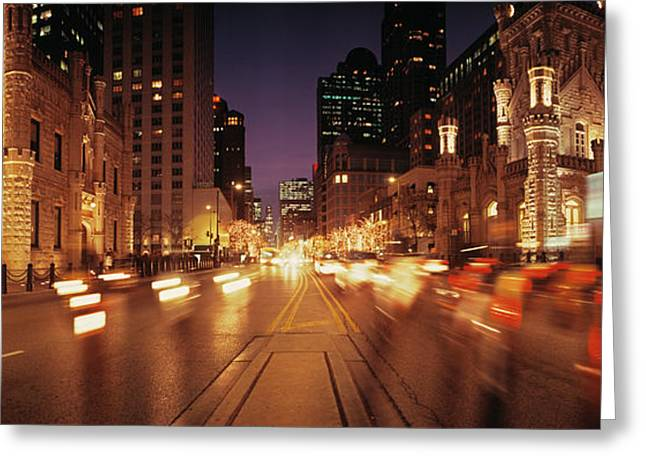 Traffic On The Road At Dusk, Michigan Greeting Card