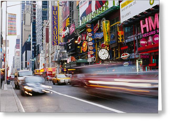 Traffic On The Street, 42nd Street Greeting Card by Panoramic Images