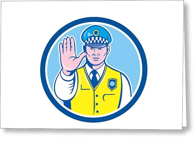 Traffic Policeman Hand Stop Sign Circle Cartoon Greeting Card