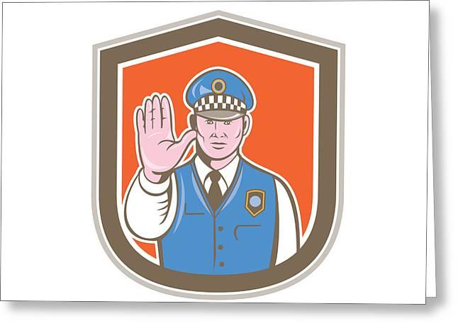 Traffic Policeman Hand Stop Sign Shield Cartoon Greeting Card