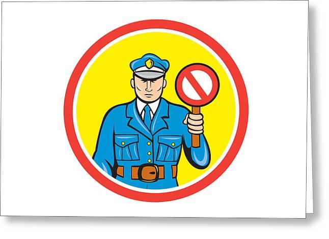 Traffic Policeman Stop Hand Signal Cartoon Greeting Card