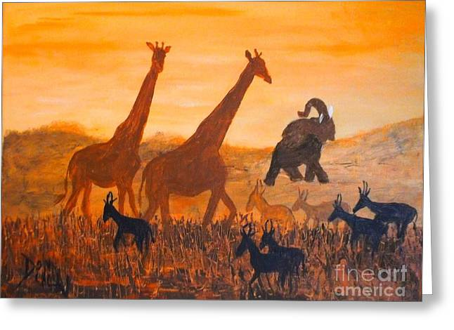 Traffick On Serengeti Greeting Card