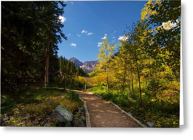 Trail Into Maroon Bells Greeting Card by Michael J Bauer