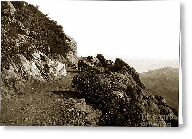 Greeting Card featuring the photograph Trail On Mt. Tamalpais Marin Co California Circa 1902  by California Views Mr Pat Hathaway Archives